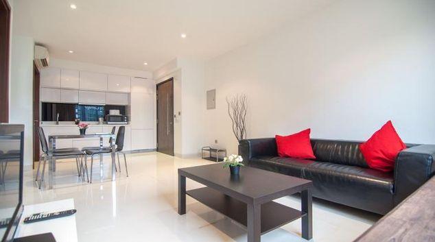 Living area at Queenstown Condominium A Apartments, Singapore