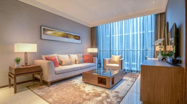 Stylish living area at Oakwood Residence Damei Beijing