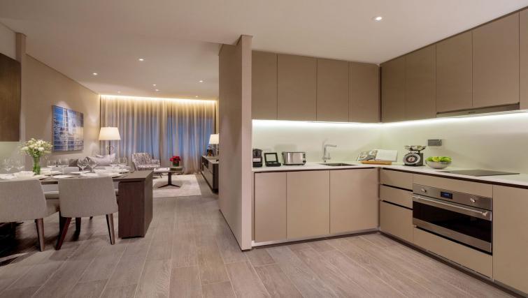 Modern kitchen at Oakwood Premier OUE Apartments, Singapore
