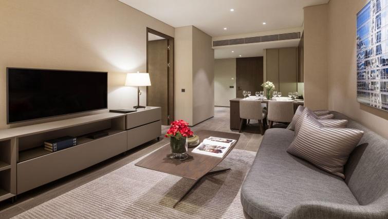 Stylish living area at Oakwood Premier OUE Apartments, Singapore