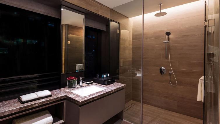 Studio bathroom at Studio room at Oakwood Premier OUE Apartments, Singapore