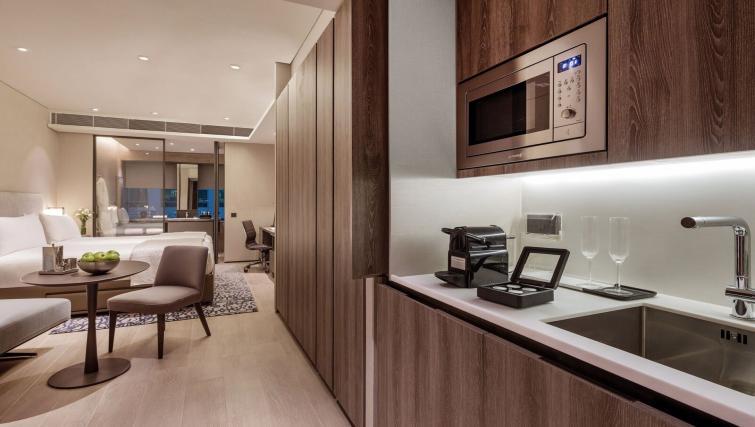 Studio kitchen at Oakwood Premier OUE Apartments, Singapore