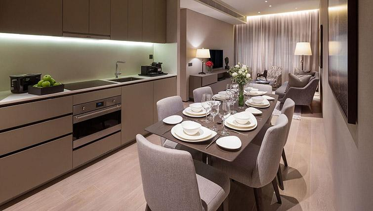 Equipped kitchen at Oakwood Premier OUE Apartments, Singapore