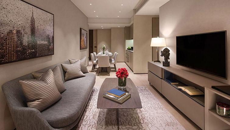Living space at Oakwood Premier OUE Apartments, Singapore