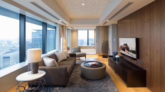Gorgeous living area at Ascott Marunouchi Apartments