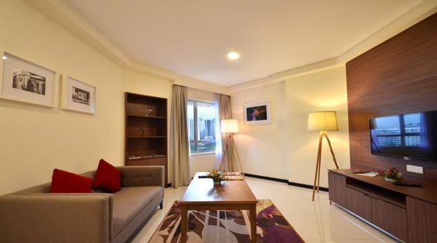 Stylish living area at Oakwood Residence Kuala Lumpur